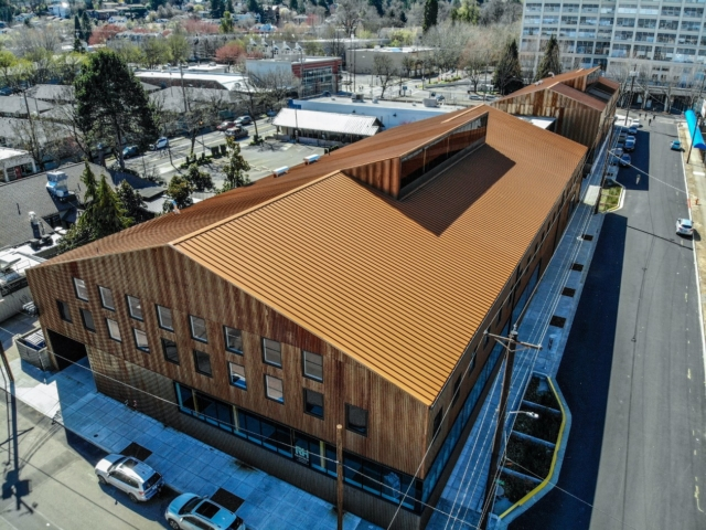 Aerial photo of Redfox Commons building